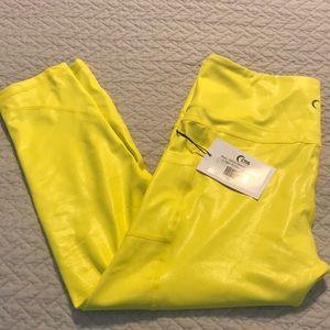 ZYIA Neon Yellow Metallic Pocket Leggings